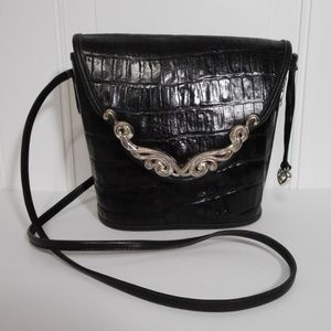 Brighton Vintage Black Crocodile Leather Crossbody
